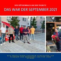 Unser neuer Bundestagsabgeordneter Jan Plobner, rechts beim Infostand mit Mitgliedern des OV Röthenbach an der Pegnitz und links bei Verkündung des Wahlergebnisses